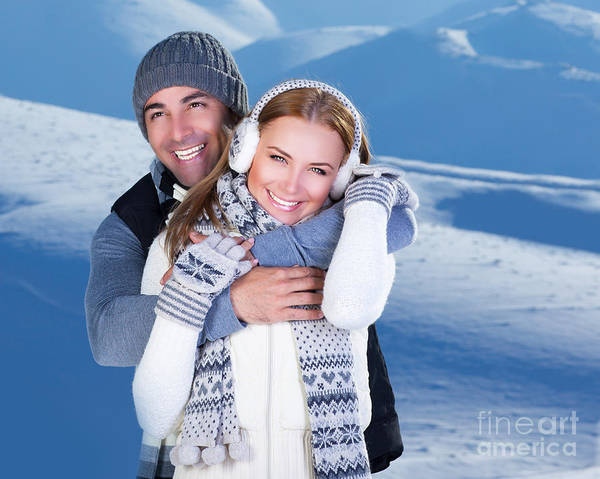 Adult Poster featuring the photograph Happy Couple Playing Outdoor At Winter Mountains by Anna Om