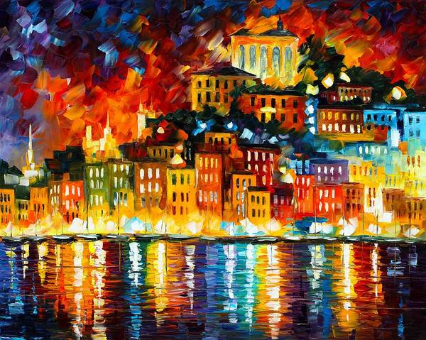 Afremov Poster featuring the painting Inviting Harbor by Leonid Afremov