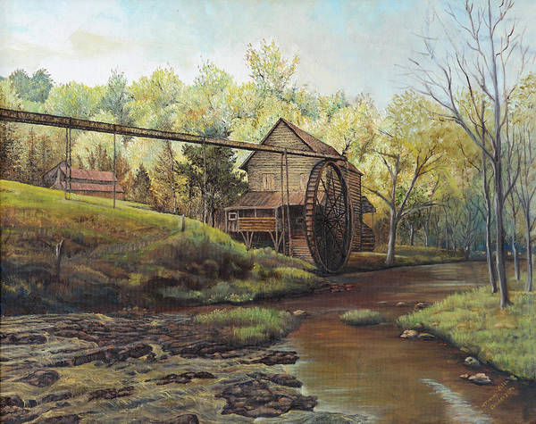 Landmark Poster featuring the painting Watermill At Daybreak by Mary Ellen Anderson