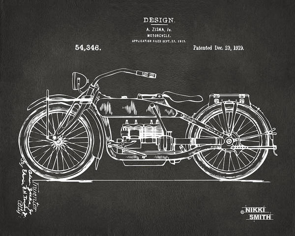 Harley Poster featuring the drawing 1919 Motorcycle Patent Artwork - Gray by Nikki Marie Smith