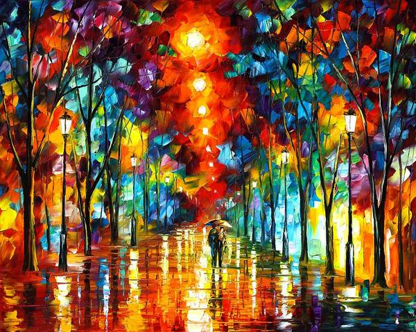 Afremov Poster featuring the painting Night Park by Leonid Afremov