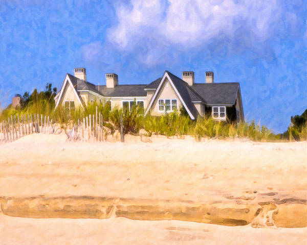 New York Poster featuring the photograph Beach House In The Hamptons by Mark E Tisdale