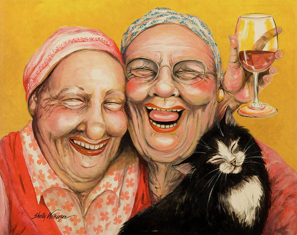 Best Friends Poster featuring the painting Bestest Friends by Shelly Wilkerson