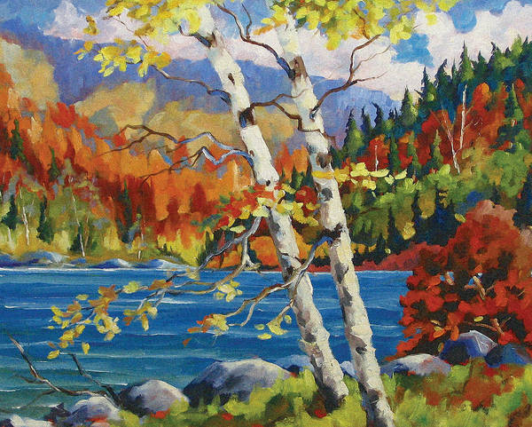 Art Poster featuring the painting Birches By The Lake by Richard T Pranke