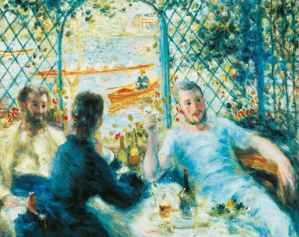 Art Poster featuring the painting Breakfast By The River by Pierre-Auguste Renoir
