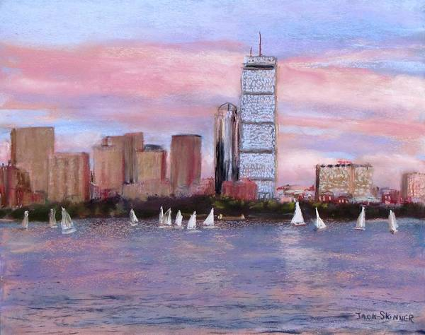 Boston Poster featuring the painting Charles River Boston by Jack Skinner