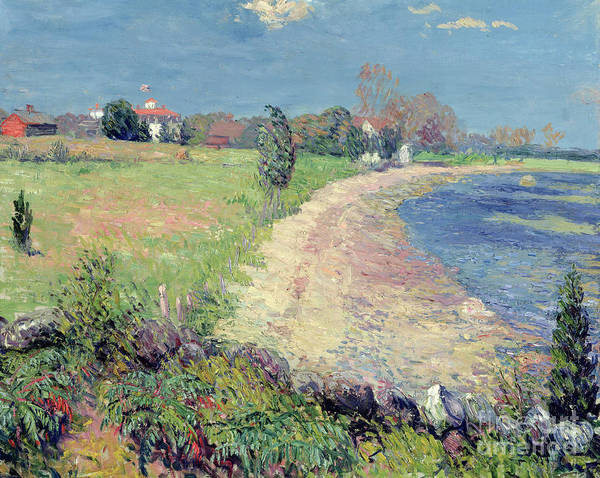 Coastal; Seaside; Sea; East Coast; Landscape; Seascape; Fields; Rural; Countryside; American Impressionist; Deserted;summer; C19th; C20th; Ashcan School; The Eight; William James Glackens; William James; William; James; Glackens; New England; Coast; Coastal Scene; Shore; Sand; Nature; Natural; Scenic; Outdoors; Summer; Curving; Beach; Curving Beach; Flowers; Flowers; Plants; Grass; Field; Landscapes; Oil Paint; Oil Painting; Idyllic; Pleasant; Simple; Calm; Serene; Soothing; Tranquil; Pastoral Poster featuring the painting Curving Beach by William James Glackens