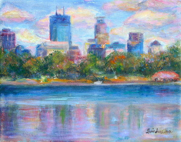 Quin Sweetman Poster featuring the painting Downtown Minneapolis Skyline From Lake Calhoun by Quin Sweetman