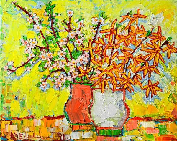 Spring Poster featuring the painting Forsythia And Cherry Blossoms Spring Flowers by Ana Maria Edulescu