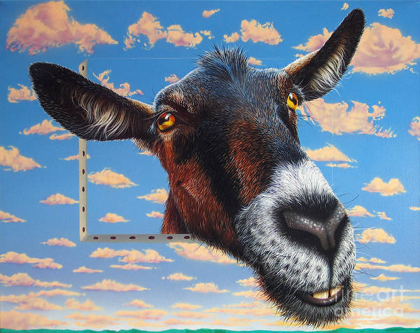 Goat Poster featuring the painting Goat A La Magritte by Jurek Zamoyski