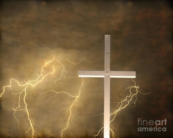 Lightning Poster featuring the photograph Good Friday In Sepia Texture by James BO Insogna