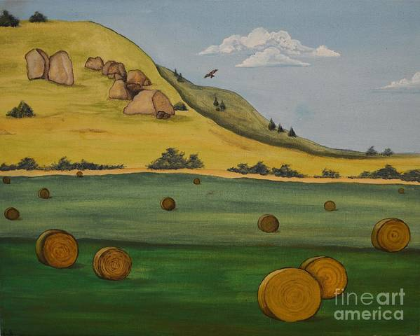 Landscape Poster featuring the painting Haybales by Cassandra Barnhart