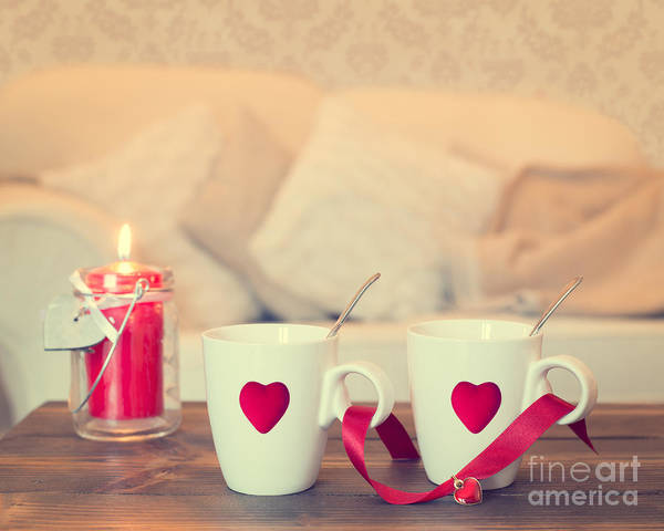 Love Poster featuring the photograph Heart Teacups by Amanda Elwell