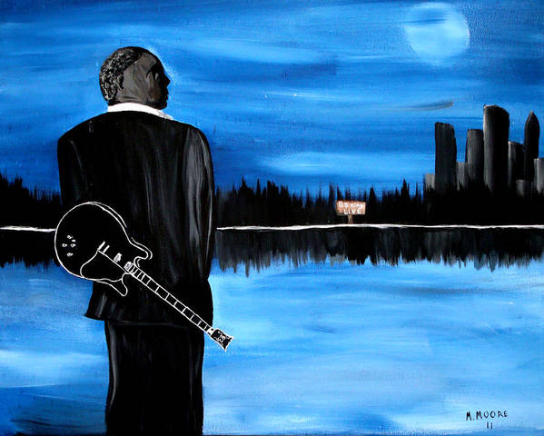 Mark Poster featuring the painting Memphis Dream With B B King by Mark Moore