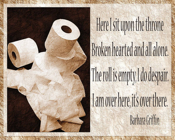 Bathroom Poster featuring the photograph Ode To The Spare Roll Sepia 2 by Andee Design