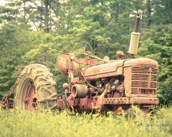 Vermont Poster featuring the photograph Old Farmall Tractor At Sunrise by Edward Fielding