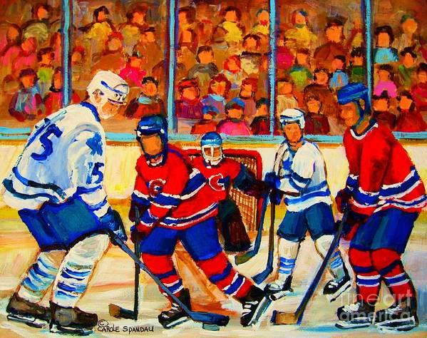 Hockey Poster featuring the painting Olympic Hockey Hopefuls Painting By Montreal Hockey Artist Carole Spandau by Carole Spandau