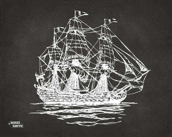 Pirate Ship Poster featuring the drawing Pirate Ship Artwork - Gray by Nikki Marie Smith