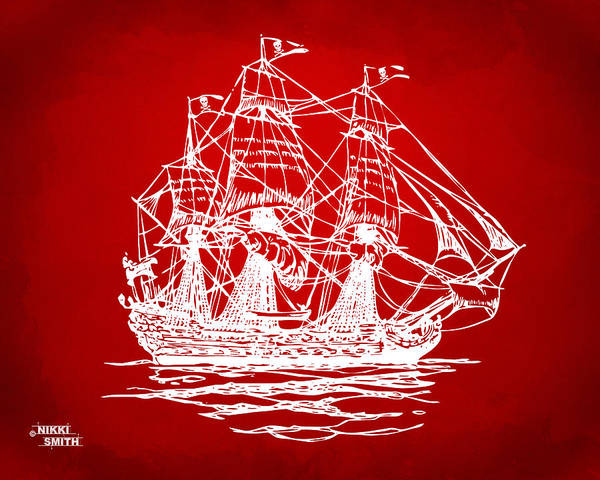 Pirate Ship Poster featuring the drawing Pirate Ship Artwork - Red by Nikki Marie Smith