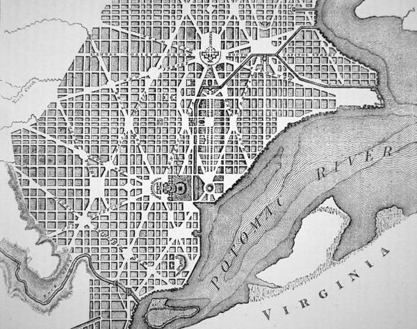 D C; Dc; Map; Potomac River; Streets; Town; Usa; Us; Urban Planning Poster featuring the drawing Plan Of The City Of Washington As Originally Laid Out In 1793 by American School