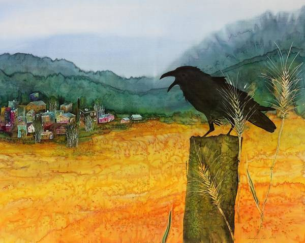 Ravens Poster featuring the tapestry - textile Raven And The Village 2 by Carolyn Doe