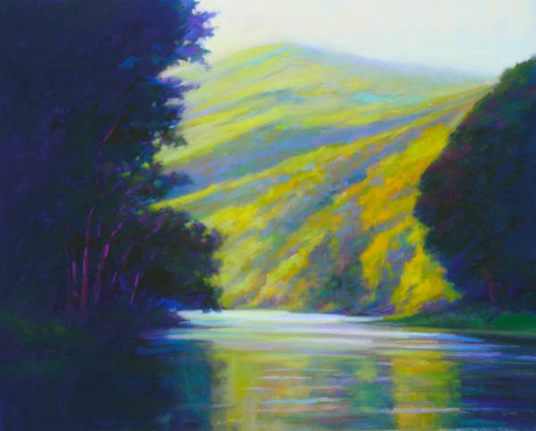 River Poster featuring the painting River Bend by Ed Chesnovitch
