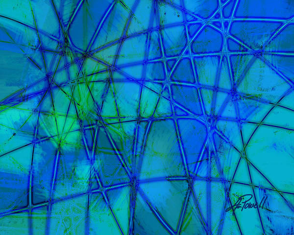 Blue Poster featuring the digital art Shades Of Blue  by Ann Powell