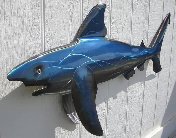 Shark Poster featuring the sculpture Shark Blue Bull Shark by Robert Blackwell