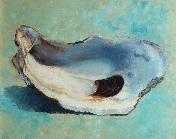 Oyster Poster featuring the painting Slurp by Pam Talley