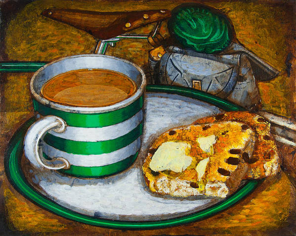 Tea Poster featuring the painting Still Life With Green Touring Bike by Mark Howard Jones