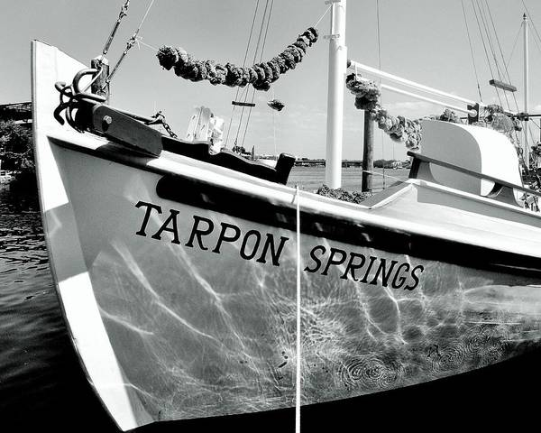 Tarpon Poster featuring the photograph Tarpon Springs Spongeboat Black And White by Benjamin Yeager