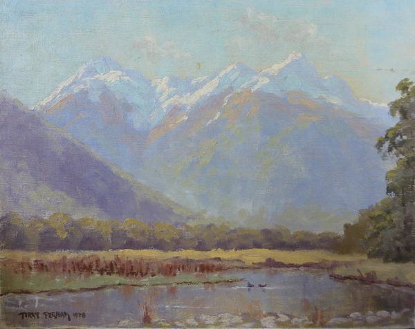 Landscape Poster featuring the painting Triangle Peaks by Terry Perham
