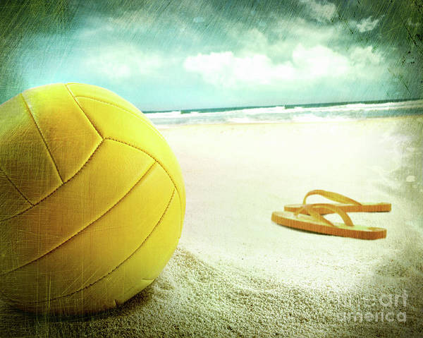 Ball Poster featuring the photograph Volleyball In The Sand With Sandals by Sandra Cunningham
