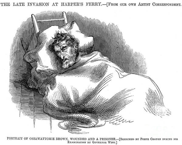 1859 Poster featuring the photograph Wounded John Brown, 1859 by Granger