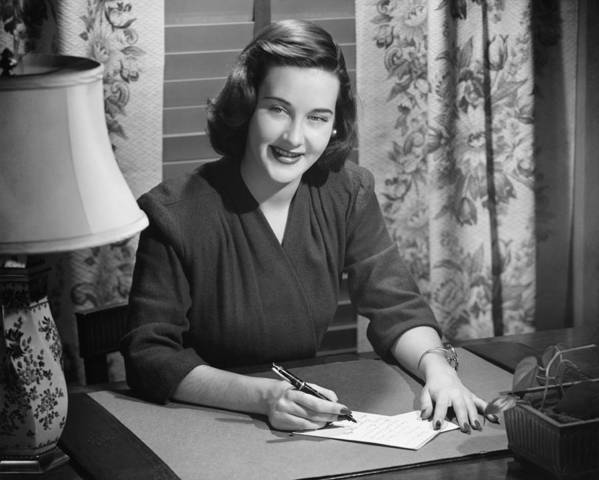 20-24 Years Poster featuring the photograph Young Woman Writing Letter At Desk, (b&w) by George Marks