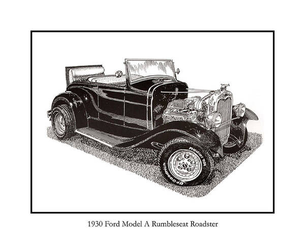 1930 Ford Model A Roadster Poster featuring the drawing 1930 Ford Model A Roadster by Jack Pumphrey
