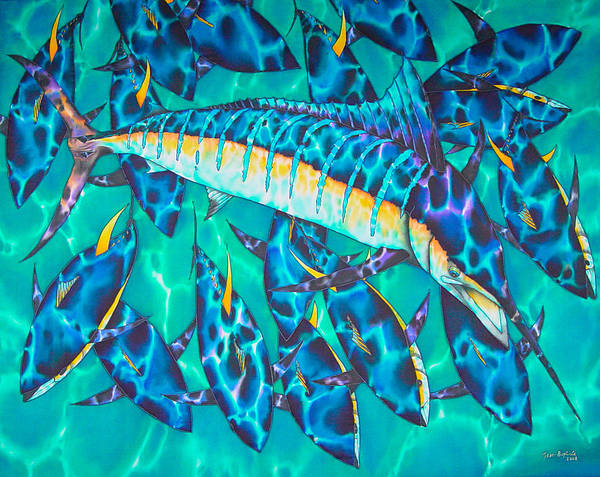 Blue Marlin Poster featuring the painting All Yellow by Daniel Jean-Baptiste