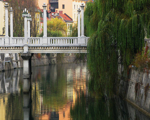 Cobblers Bridge Poster featuring the photograph Cobblers Bridge And Morning Reflections In Ljubljana by Greg Matchick