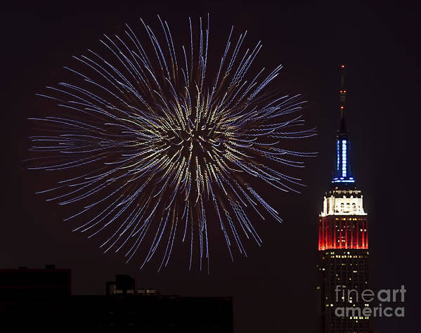 Empire State Building Poster featuring the photograph Empire State Fireworks by Susan Candelario