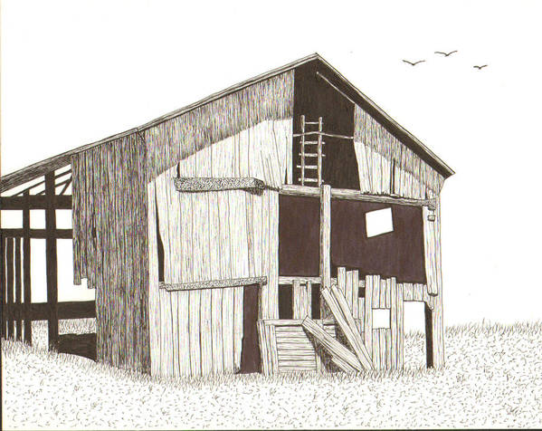 Pen And Ink Poster featuring the drawing Ohio Barn by Pat Price