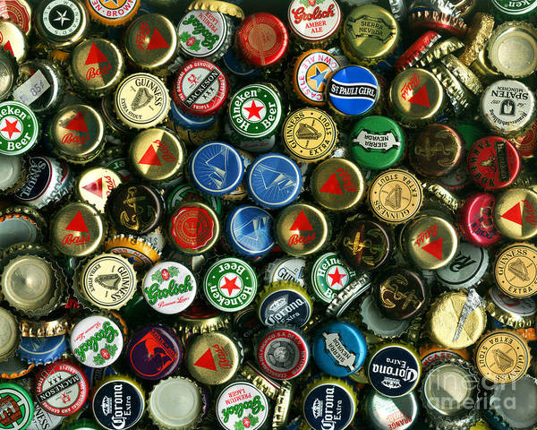 Kitsch Poster featuring the photograph Pile Of Beer Bottle Caps . 8 To 10 Proportion by Wingsdomain Art and Photography