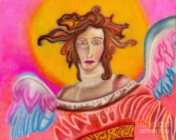 Angels Poster featuring the pastel Sad Angel by Christine Perry