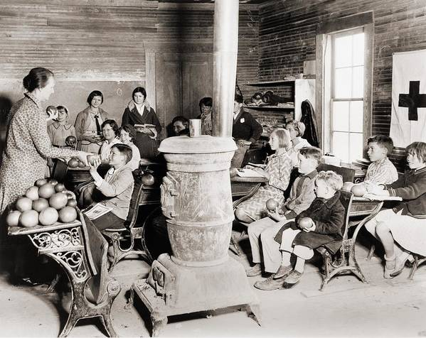 Historical Poster featuring the photograph Students In A One-room School by Everett