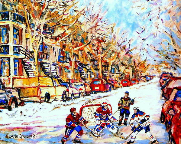 Hockey Poster featuring the painting Hockey Game On Colonial Street Near Roy Montreal City Scene by Carole Spandau