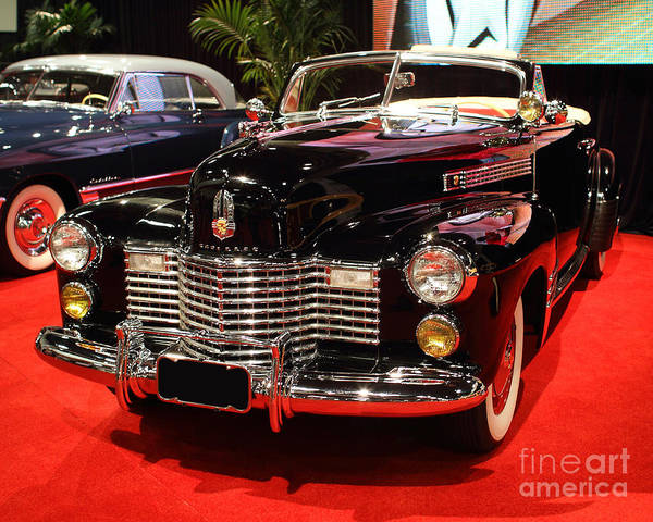 1941 Cadillac Series 62 Convertible Coupe Poster featuring the photograph 1941 Cadillac Series 62 Convertible Coupe . Front Angle by Wingsdomain Art and Photography