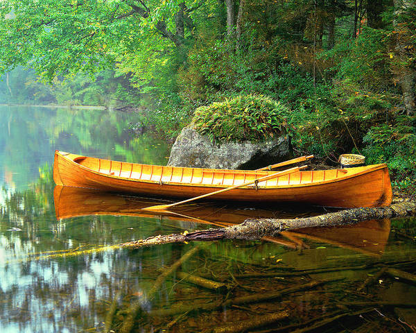 Adirondacks-boat-landscape-lake Poster featuring the photograph Adirondack Guideboat by Frank Houck