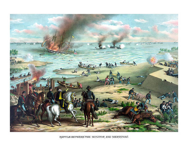 Monitor Poster featuring the painting Battle Between The Monitor And Merrimac by War Is Hell Store