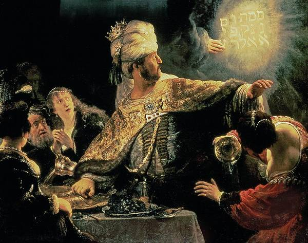 Belshazzar Poster featuring the painting Belshazzars Feast by Rembrandt