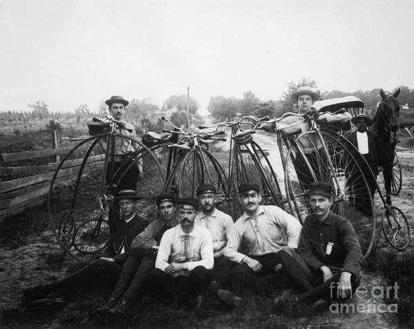 1880s Poster featuring the photograph Bicyle Riders, C1880s by Granger
