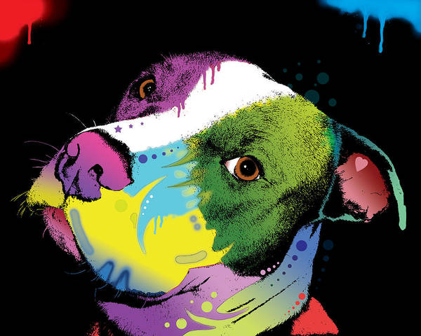 Pit Bull Poster featuring the painting Dripful Pitbull by Dean Russo